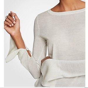 Ann Taylor Split Sleeve Pearlized Trim Sweater